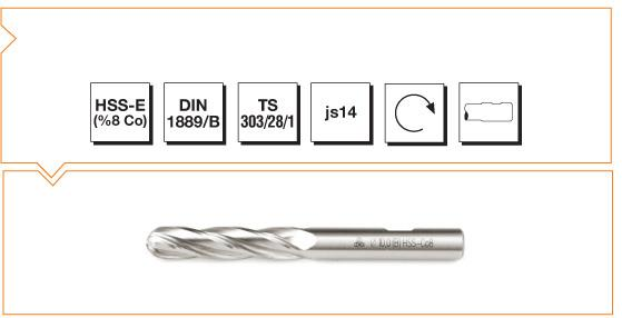 HSS-Co8 Din 1889/B Straight Shank Ball Nose End Mills - Long