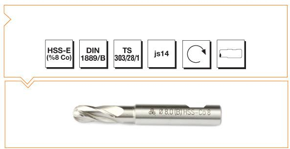 HSS-Co8 Din 1889-B Straight Shank Ball Nose End Mills - Short