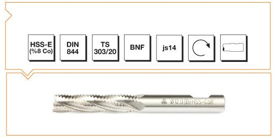 HSS-Co8 Din 844 B-NF Straight Shank End Mills - Long