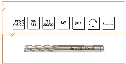HSS-Co8 Din 844 B/W Straight Shank End Mills - Long
