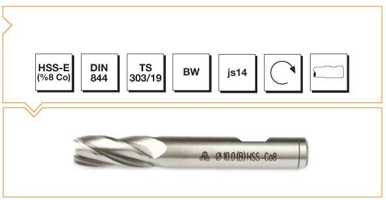 HSS-Co8 Din 844 B/W Straight Shank End Mills - Short