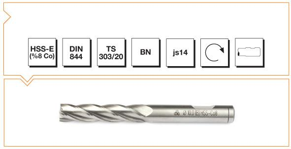 HSS-Co8 Din 844 BN Straight Shank End Mills - Long