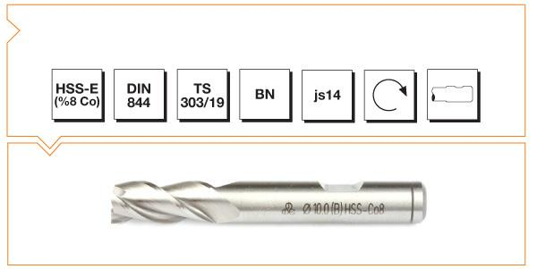 HSS-Co8 Din 844 BN Straight Shank End Mills - Short