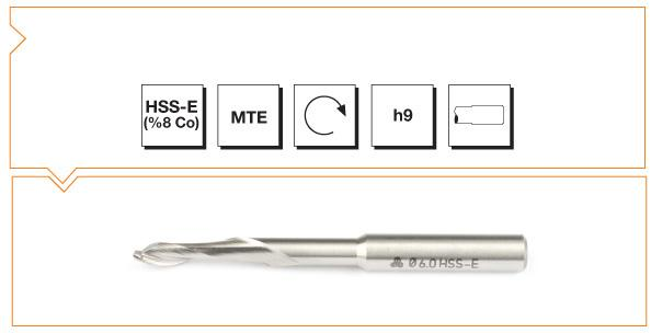 HSS-Co8 MTE Norm Single Flute Aluminium End Mills - Long