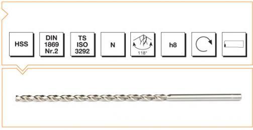 HSS Din 1869-2 Straight Shank Twist Drills Extra Long Series - Type N