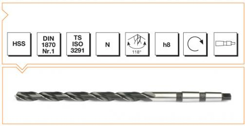 HSS Din 1870-1 Morse Taper Shank Twist Drills - Extra Long Series