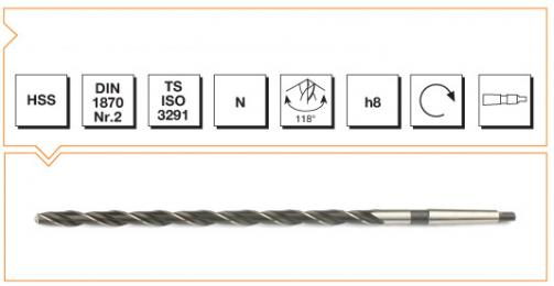 HSS Din 1870-2 Morse Taper Shank Twist Drills - Extra Long Series