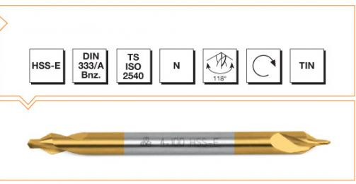 HSS Din 333/A Center Drills - Long - TiN