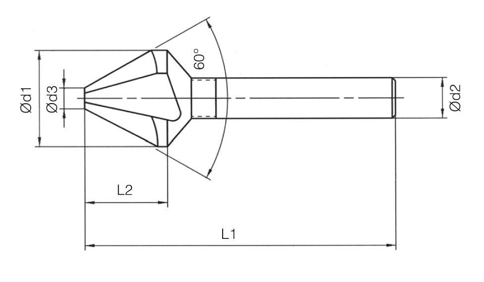 HSS Din 334/C 3 Flutes Countersinks - 60°
