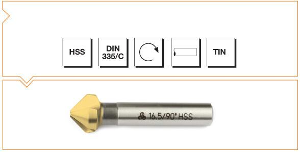 HSS Din 335/C 3 Flutes Countersinks - 90° - TiN