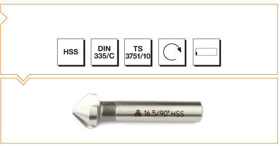 HSS Din 335/C 3 Flutes Countersinks - 90°