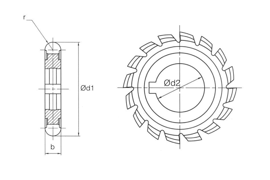 HSS Din 856 Convex Radius Cutters