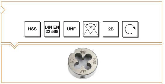 HSS Din EN 22 568 Round Dies - UNF