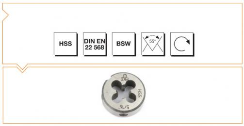HSS Din EN 22 568 Round Dies Withworth Thread