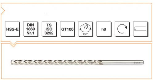 HSS-E Din 1869-1 Straight Shank Twist Drills Extra Long Series - Type GT 100
