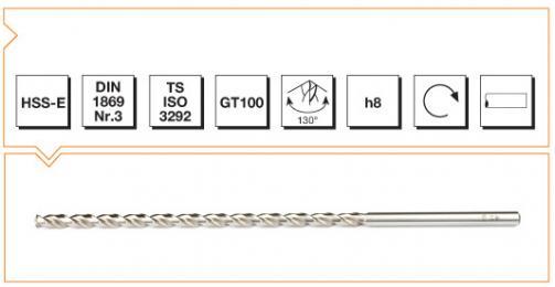 HSS-E Din 1869-3 Straight Shank Twist Drills Extra Long Series - Type GT 100