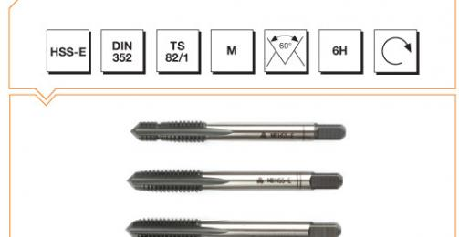 HSS-E Din 352 Hand Taps (In Sets of 3) - Metric Thread (Nr1 Pilot)