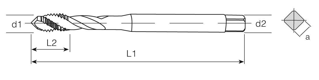 HSS-E Din 371 Machine Taps 45° Helical Flute - Al