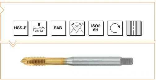 HSS-E Din 371 Machine Taps Spiral Point- TiN