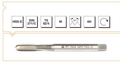 HSS-E Din 371/C Machine Taps with Straight Flute - Metric Thread