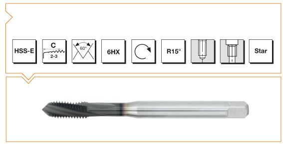 HSS-E Din 376 Machine Taps 15° Helical Flute - Cast Iron