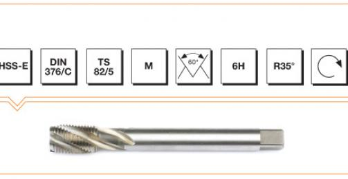 HSS-E Din 376/C Machine Taps with Helical Flute - Metric Thread