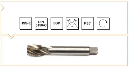 HSS-E Din 5156C Machine Taps with Helical Flute - Whitworth Pipe Thread