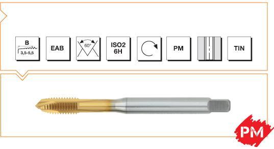 PM Din 376 Machine Taps Spiral Point - INOX