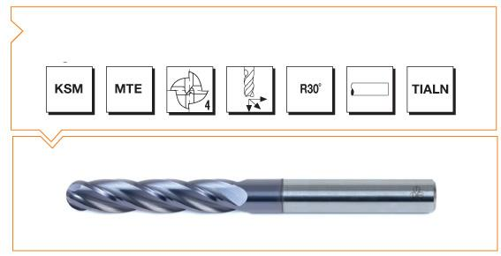 VHM MTE Norm Ball Nose End Mills 4 Flutes - Extra Long