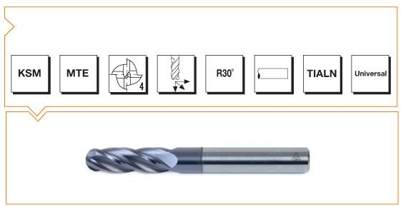 VHM MTE Norm Ball Nose End Mills 4 Flutes