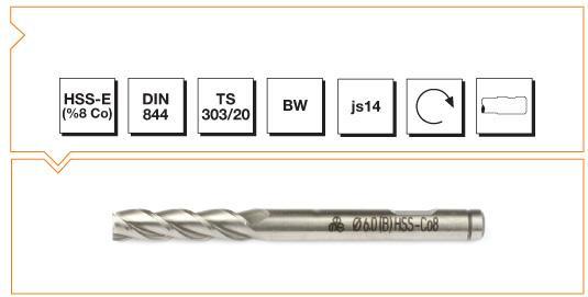 HSS-Co8 Din 844 B/W Straight Shank End Mills - Long