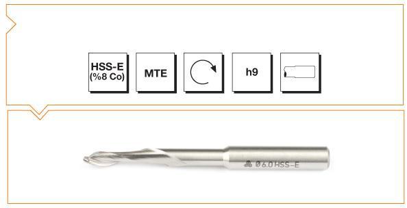 HSS-Co8 MTE Norm Single Flute Aluminium End Mills - Long