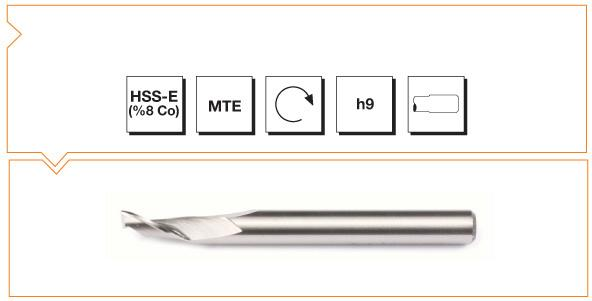 HSS-Co8 MTE Norm Single Flute Aluminium End Mills