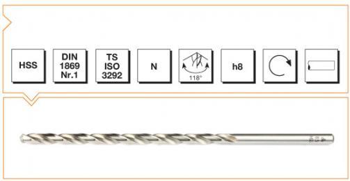 HSS Din 1869-1 Straight Shank Twist Drills Extra Long Series - Type N