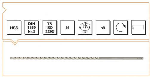 HSS Din 1869-3 Straight Shank Twist Drills Extra Long Series - Type N