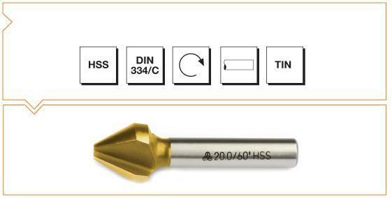 HSS Din 334-C 3 Flutes Countersinks - 60° - TiN
