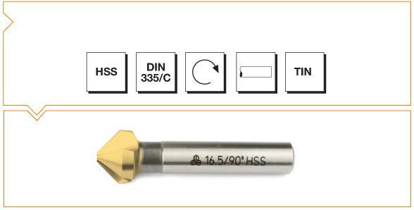 HSS Din 335/C 3 Flutes Countersinks - 90° - TiN