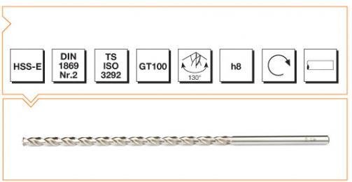 HSS-E Din 1869-2 Straight Shank Twist Drills Extra Long Series - Type GT 100