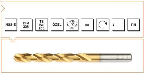 HSS-E Din 338 Straight Shank Twist Drills - TiN Coated