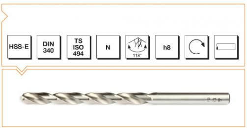 HSS-E Din 340 Straight Shank Long Twist Drills