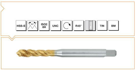 HSS-E Din 371 376 Machine Taps 45° Helical Flute UNC - Al