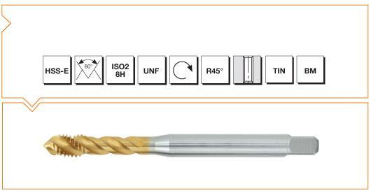 HSS-E Din 371 376 Machine Taps 45° Helical Flute UNF - Al