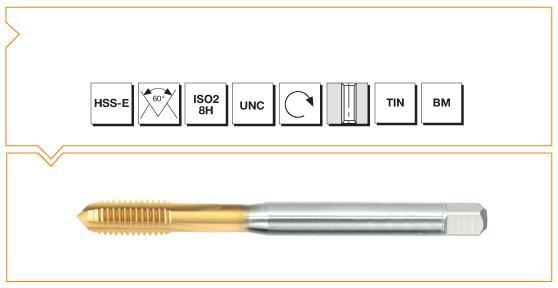 HSS-E Din 371 / 376 Machine Taps Straight Flute UNC - Al