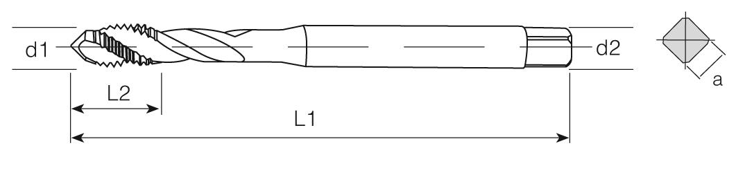 HSS-E Din 371 Machine Taps 45° Helical Flute - Cu