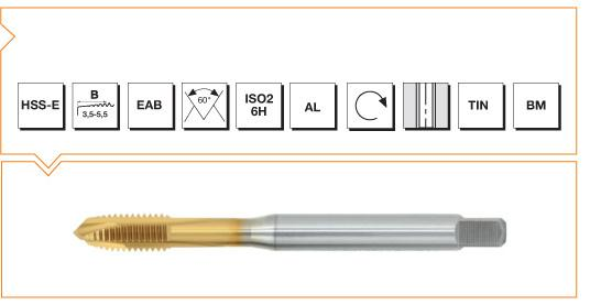 HSS-E Din 371 Machine Taps Spiral Point - Al