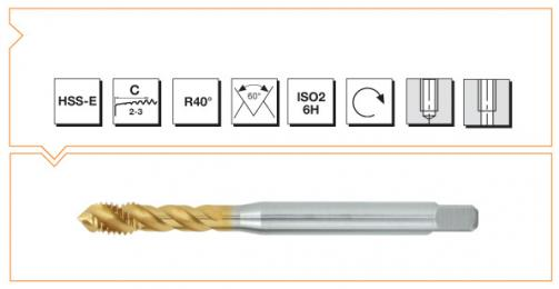 HSS-E Din 374 Machine Taps 40° Helical Flute - TiN