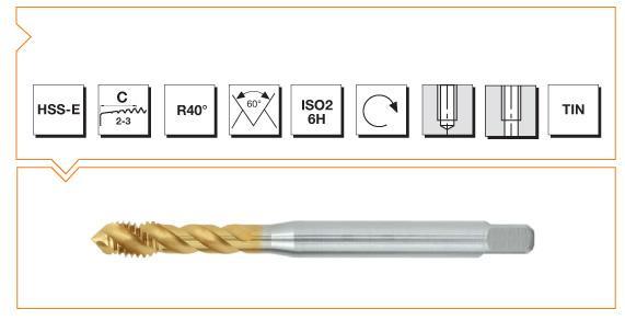 HSS-E Din 376 Machine Taps 40° Helical Flute - INOX