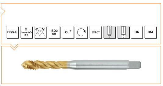 HSS-E Din 376 Machine Taps 45° Helical Flute - Cu