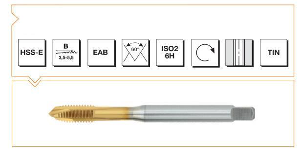 HSS-E Din 376 Machine Taps Spiral Point - INOX