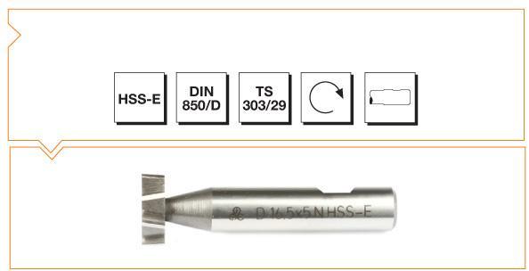 HSS-E Din 850-D Woodruff Keyseat Cutters - Staggered Teeth